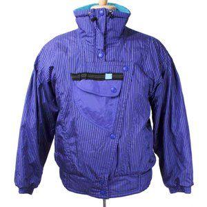 VINTAGE PROFILE Blue Striped Retro Ski Snow Jacket
